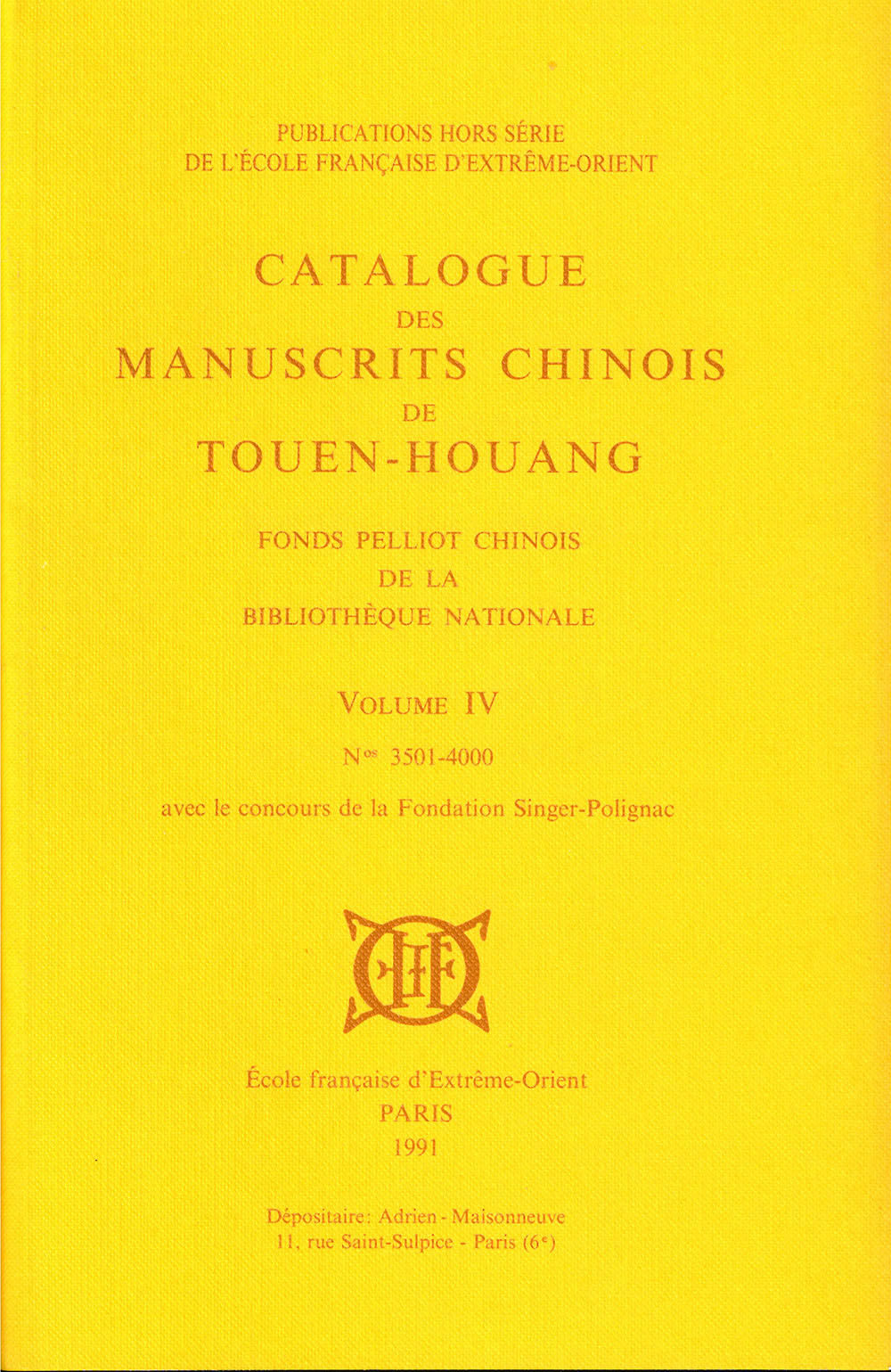 Catalogue des manuscrits chinois de Touen-Houang. Volume IV (n° 3501-4000)