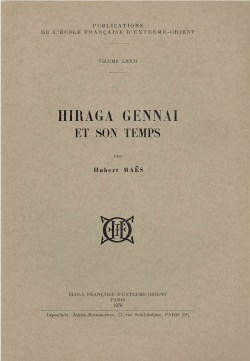 Hiraga Gennai et son temps