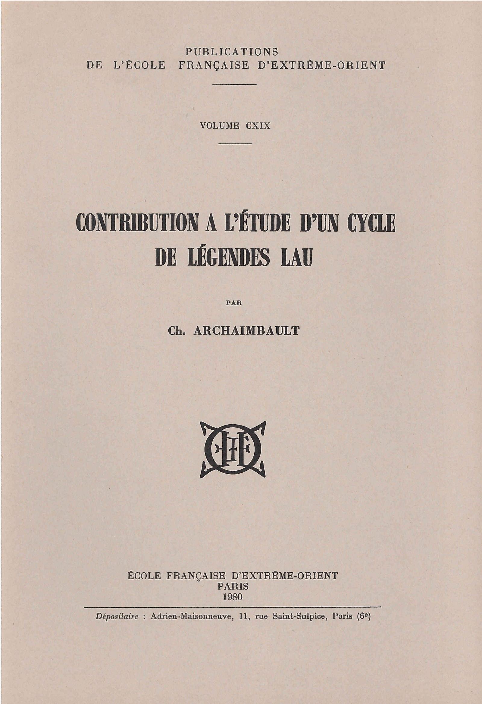 Contribution à l'étude d'un cycle de légendes Lau