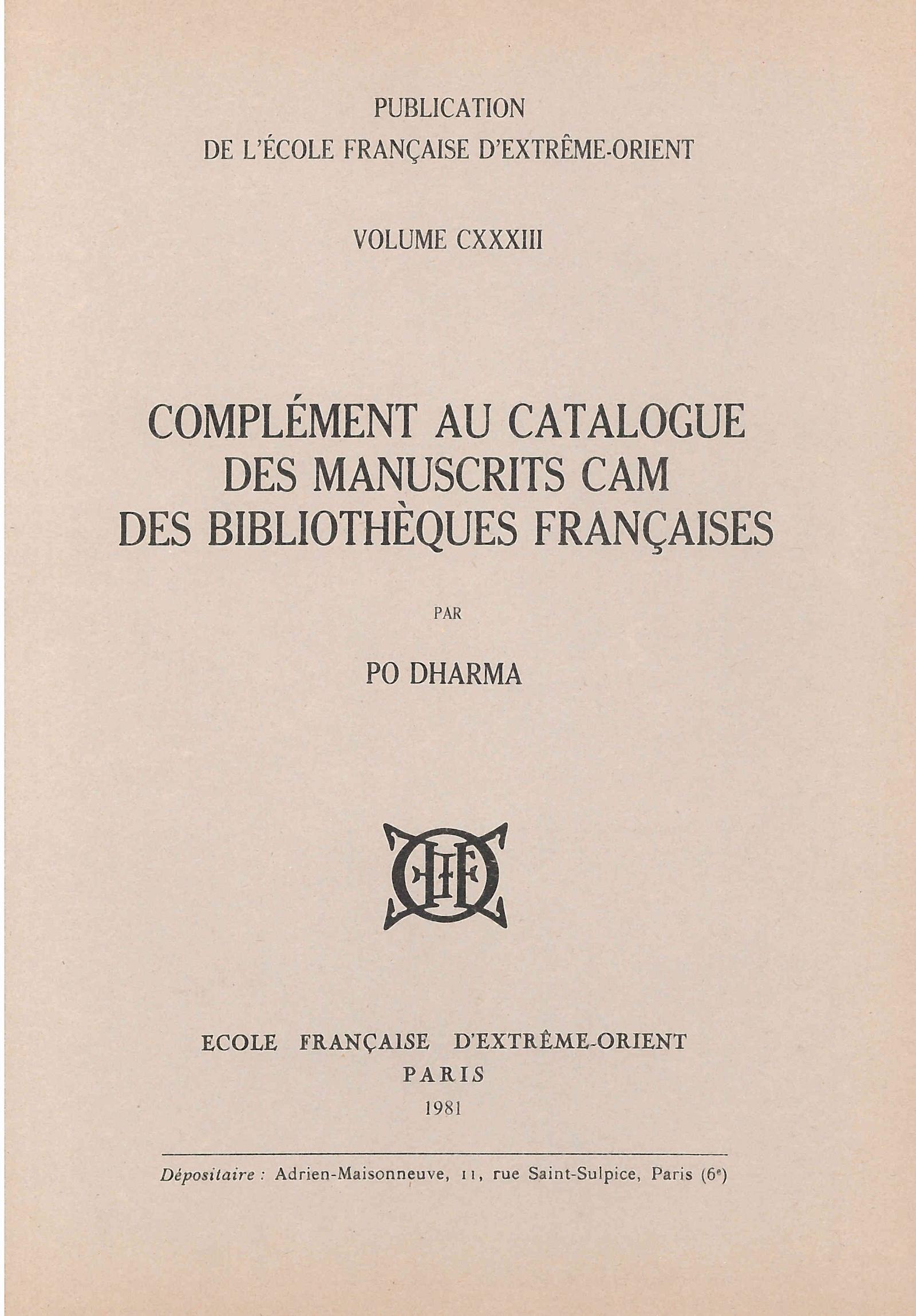 Complément au catalogue des manuscrits Cam des bibliothèques françaises