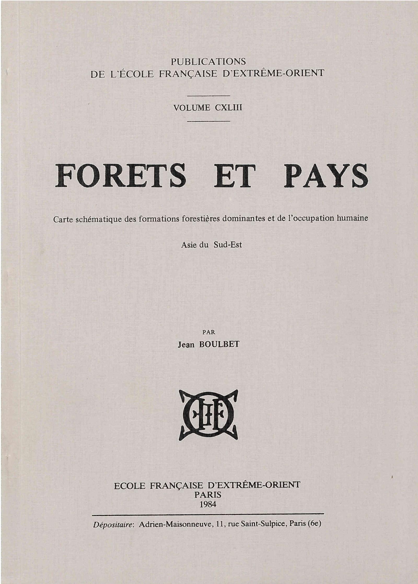 Forêts et pays : carte schématique des formations forestières dominantes et de l'occupation humaine, Asie du sud-est
