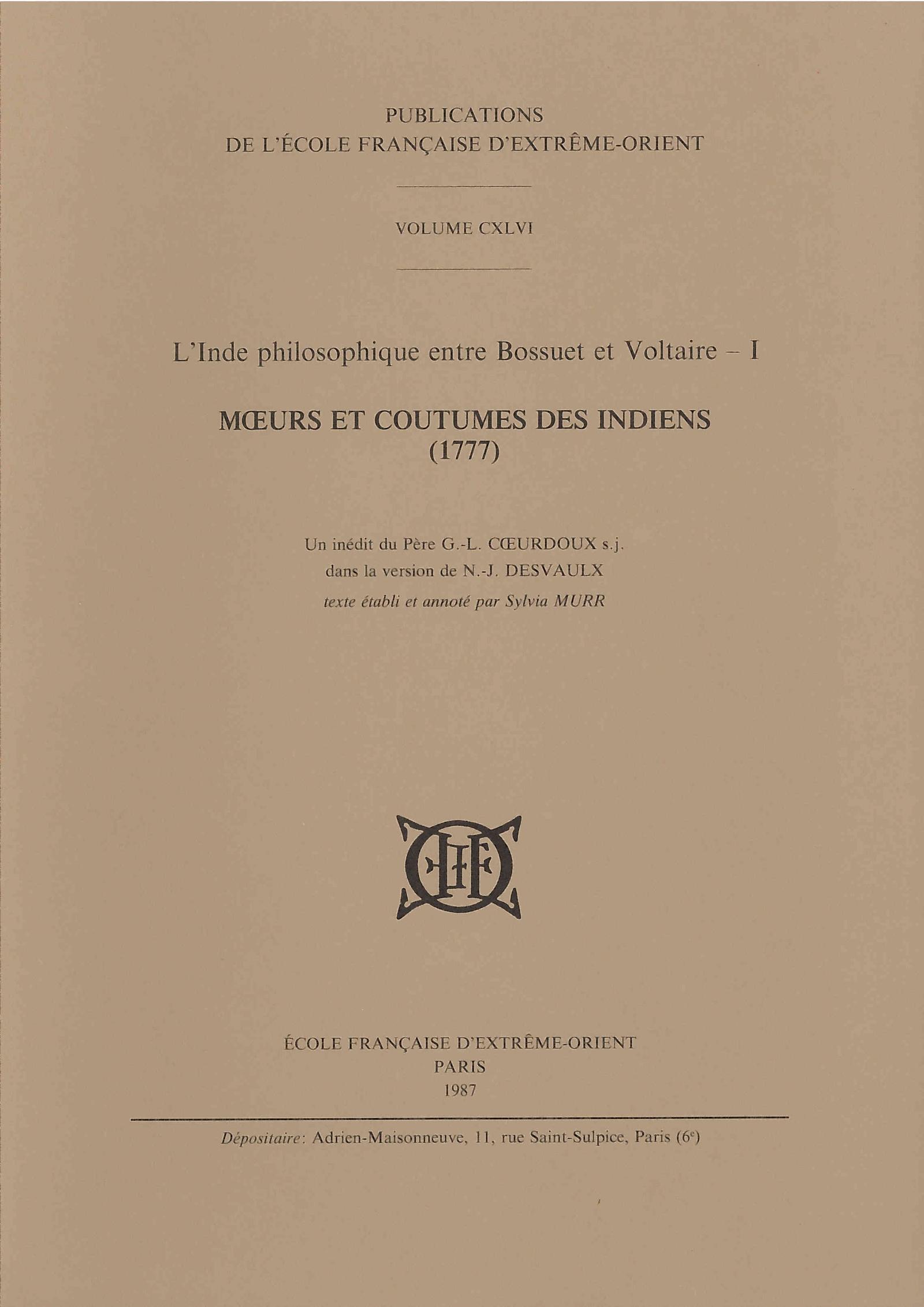 L'Inde philosophique entre Bossuet et Voltaire