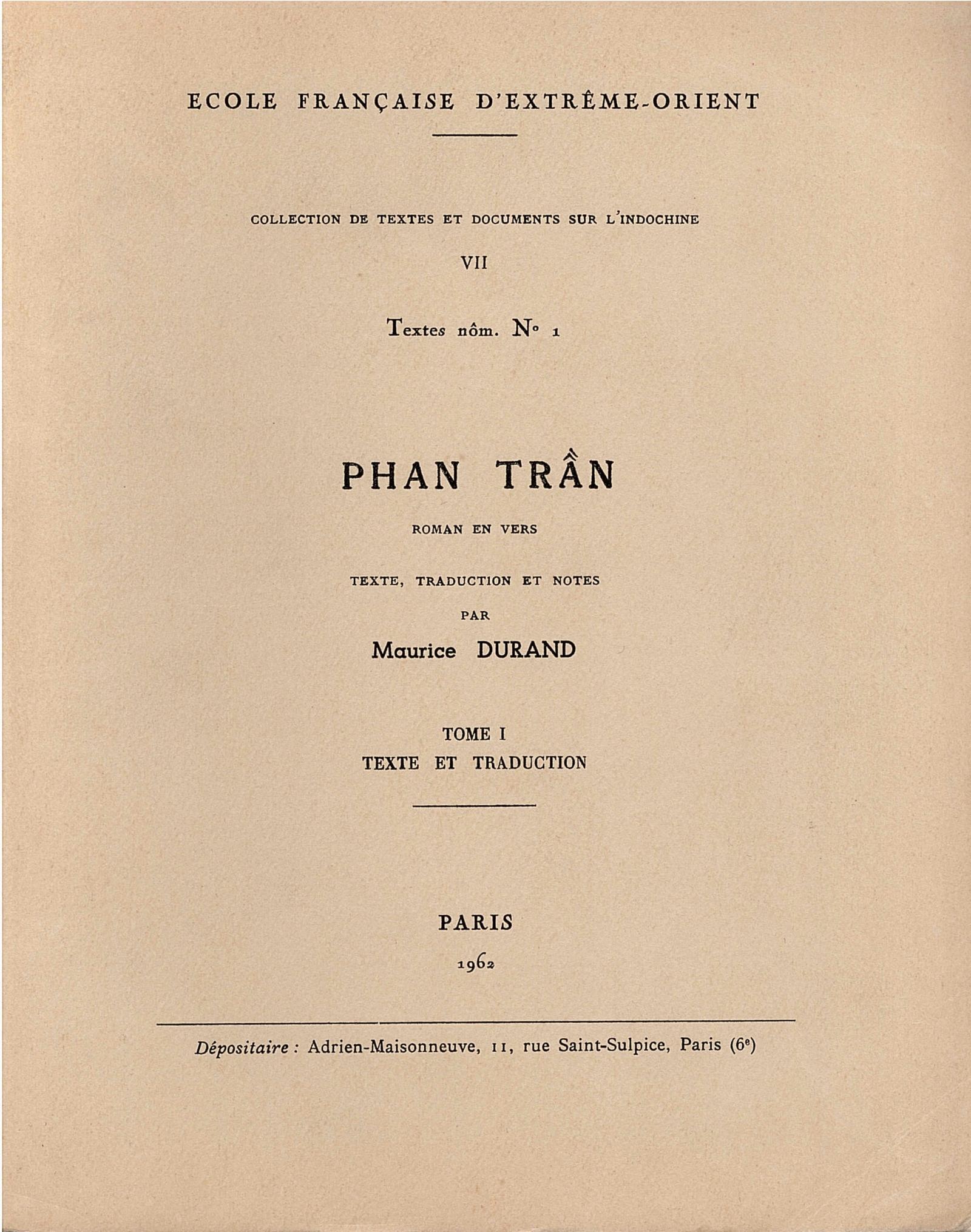 Phan Trãn : roman en vers