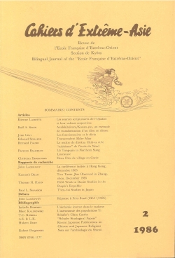 Cahiers d'Extrême-Asie 2 (1986)