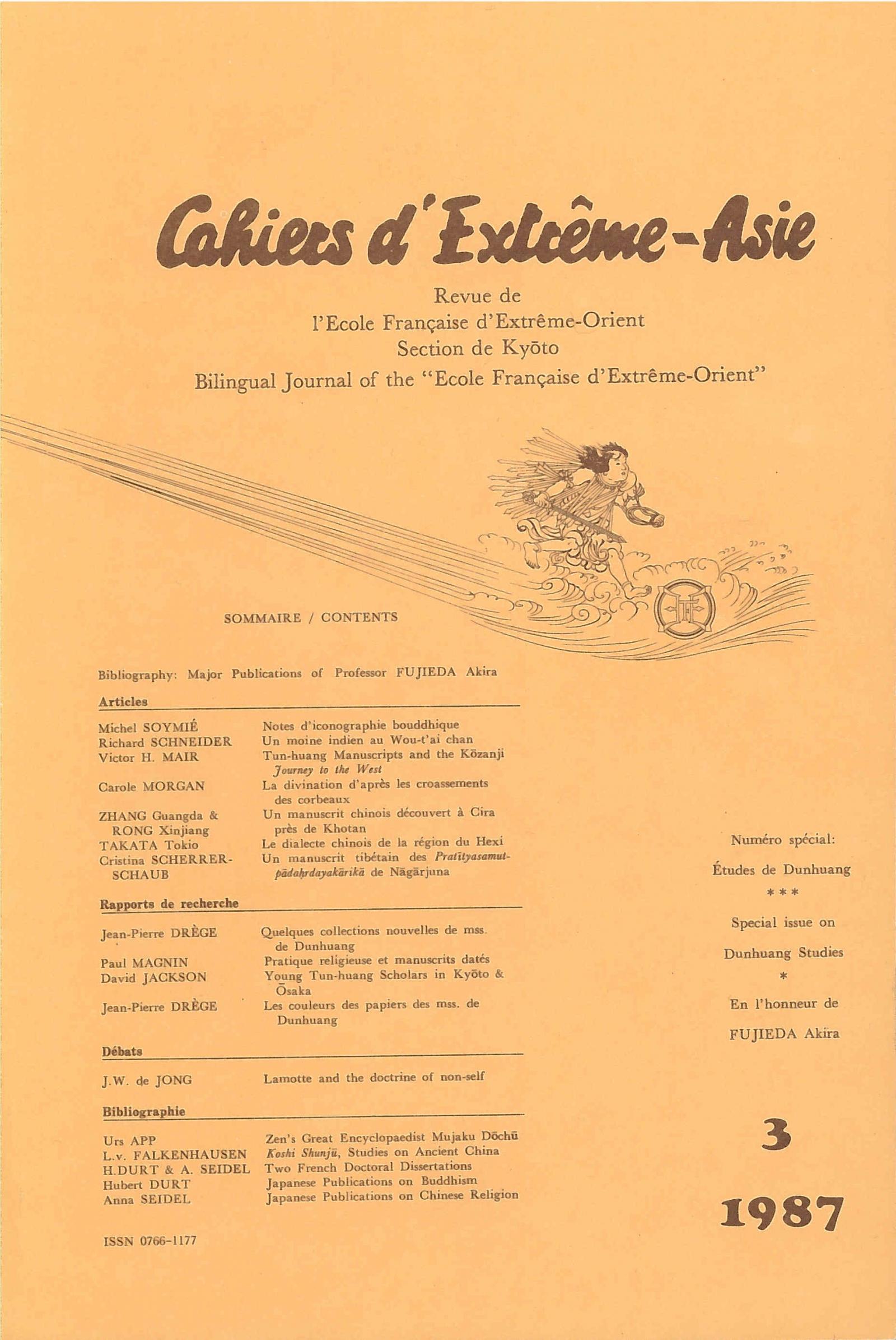 Cahiers d'Extrême-Asie 3 (1987)