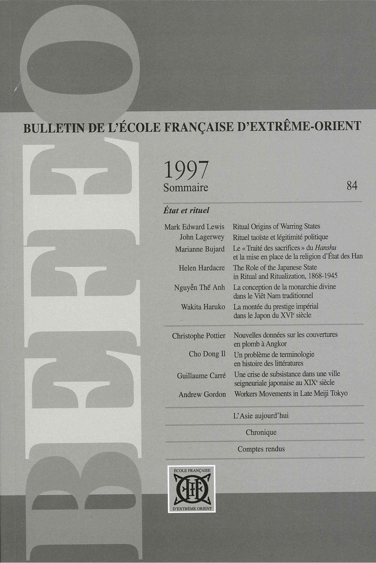 Bulletin de l'Ecole française d'Extrême-Orient 84 (1997)