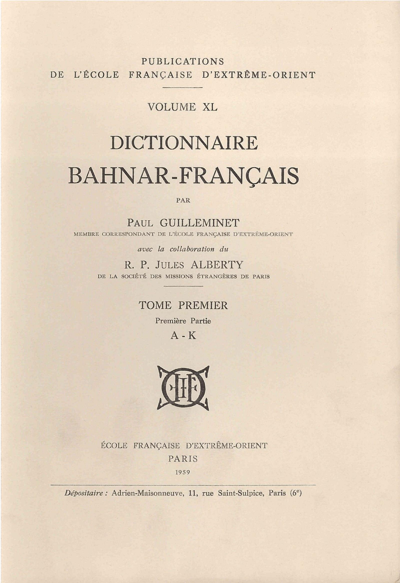 Dictionnaire bahnar-français