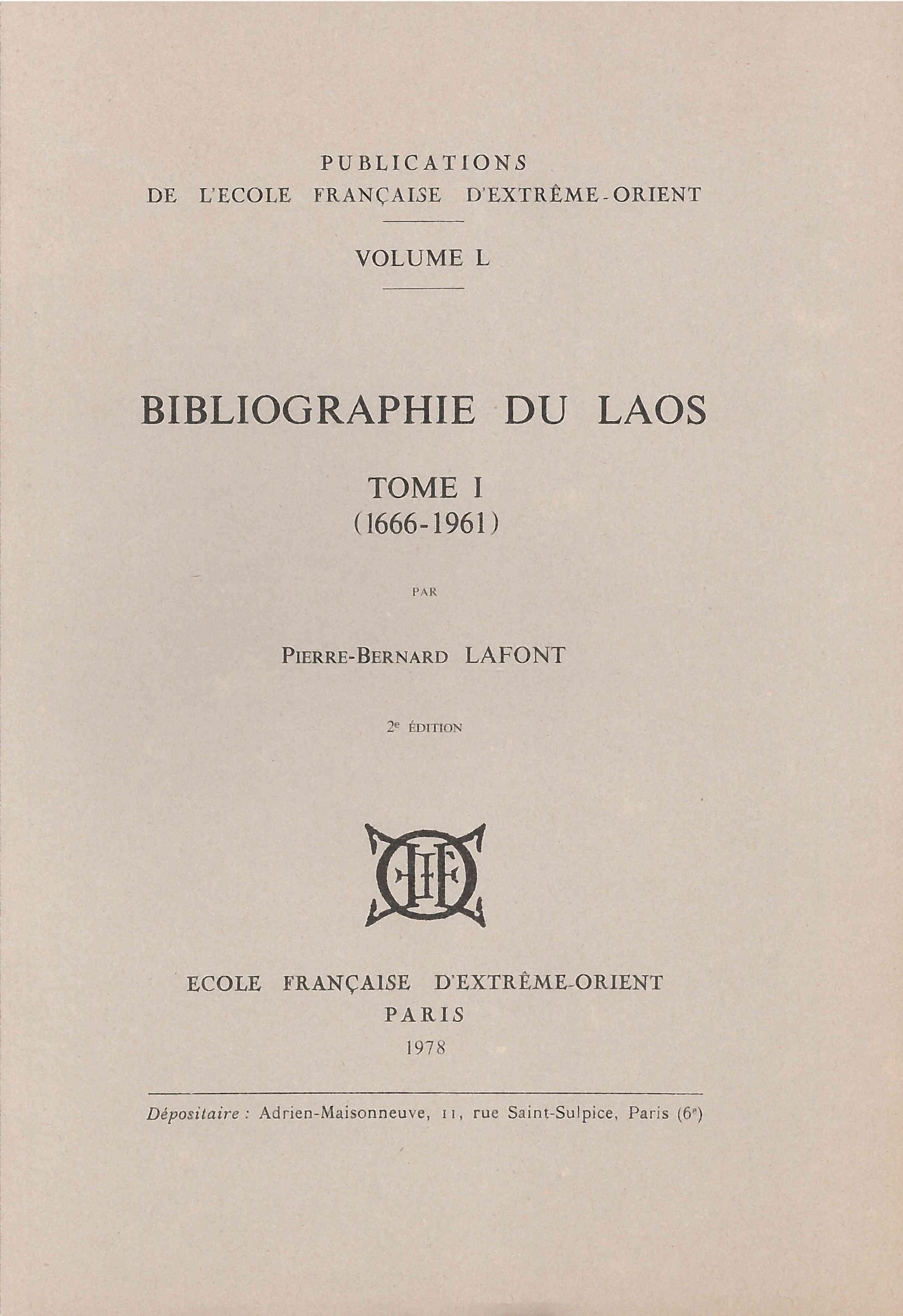 Bibliographie du Laos