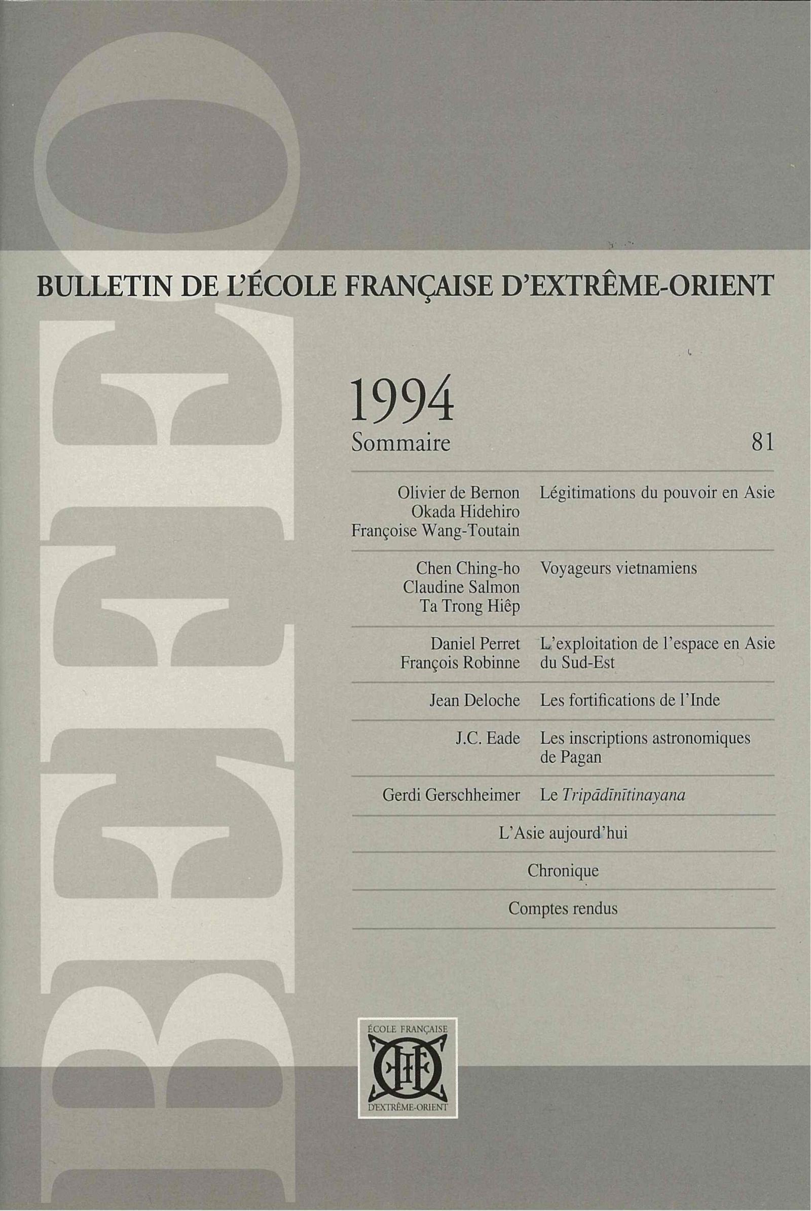 Bulletin de l'Ecole française d'Extrême-Orient 81 (1994)