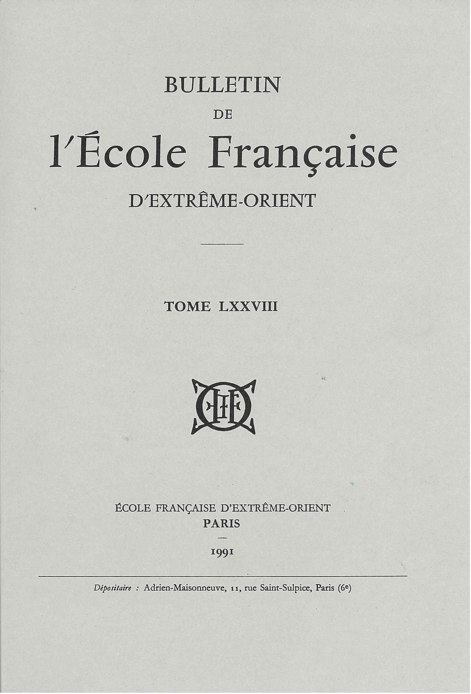 Bulletin de l'Ecole française d'Extrême-Orient 78 (1991)