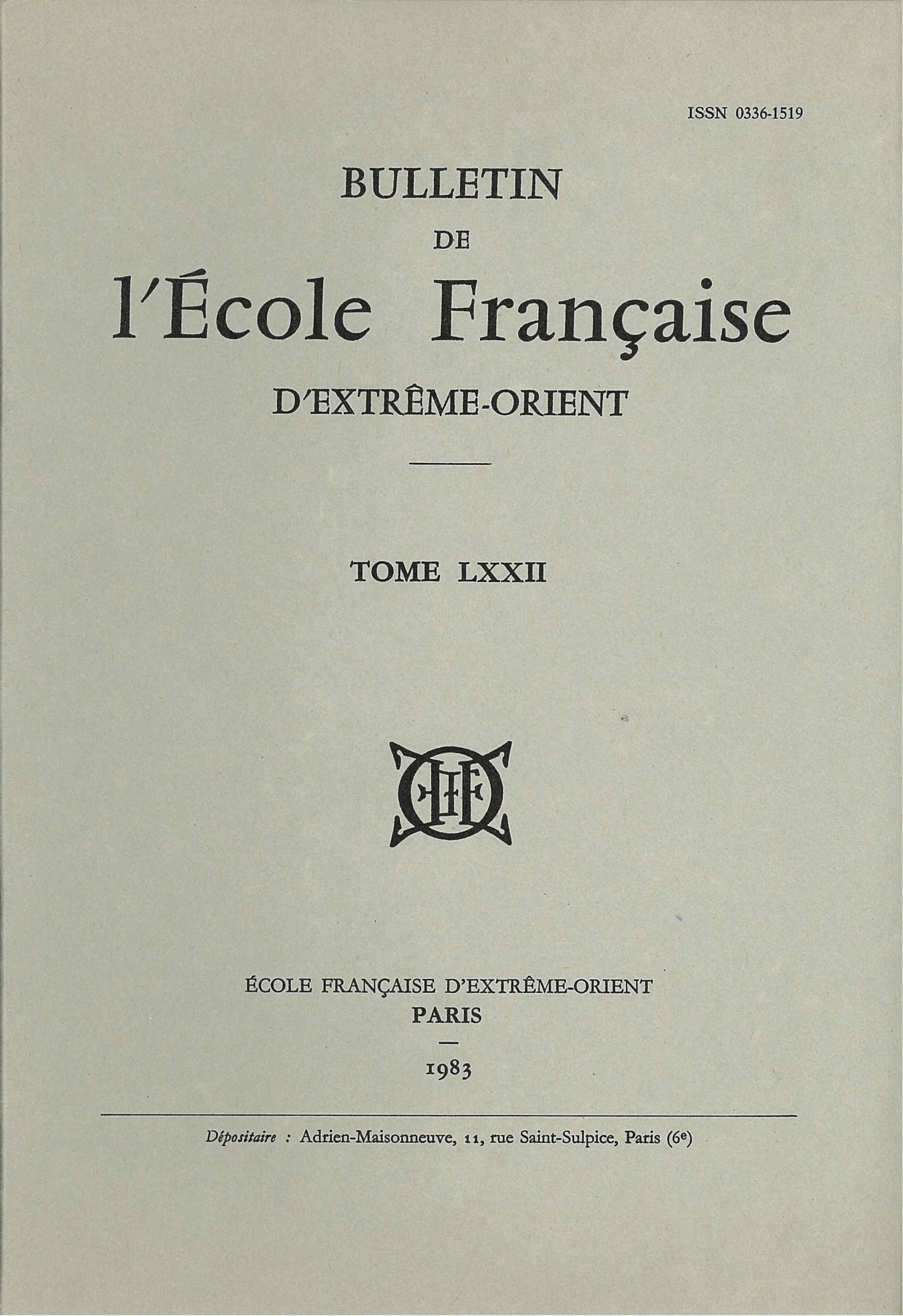 Bulletin de l'Ecole française d'Extrême-Orient 72 (1983)
