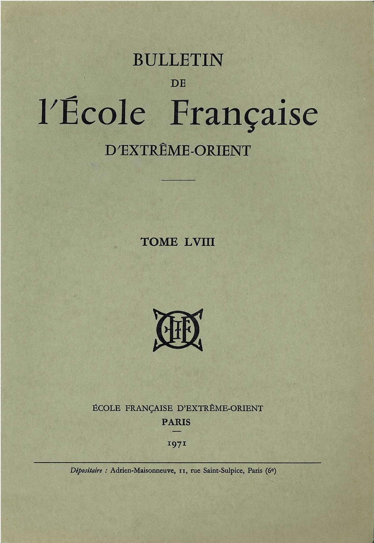 Bulletin de l'Ecole française d'Extrême-Orient 58 (1971)